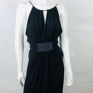 BCBG PARIS Black Maxi Halter Drawstring Dress Sz S